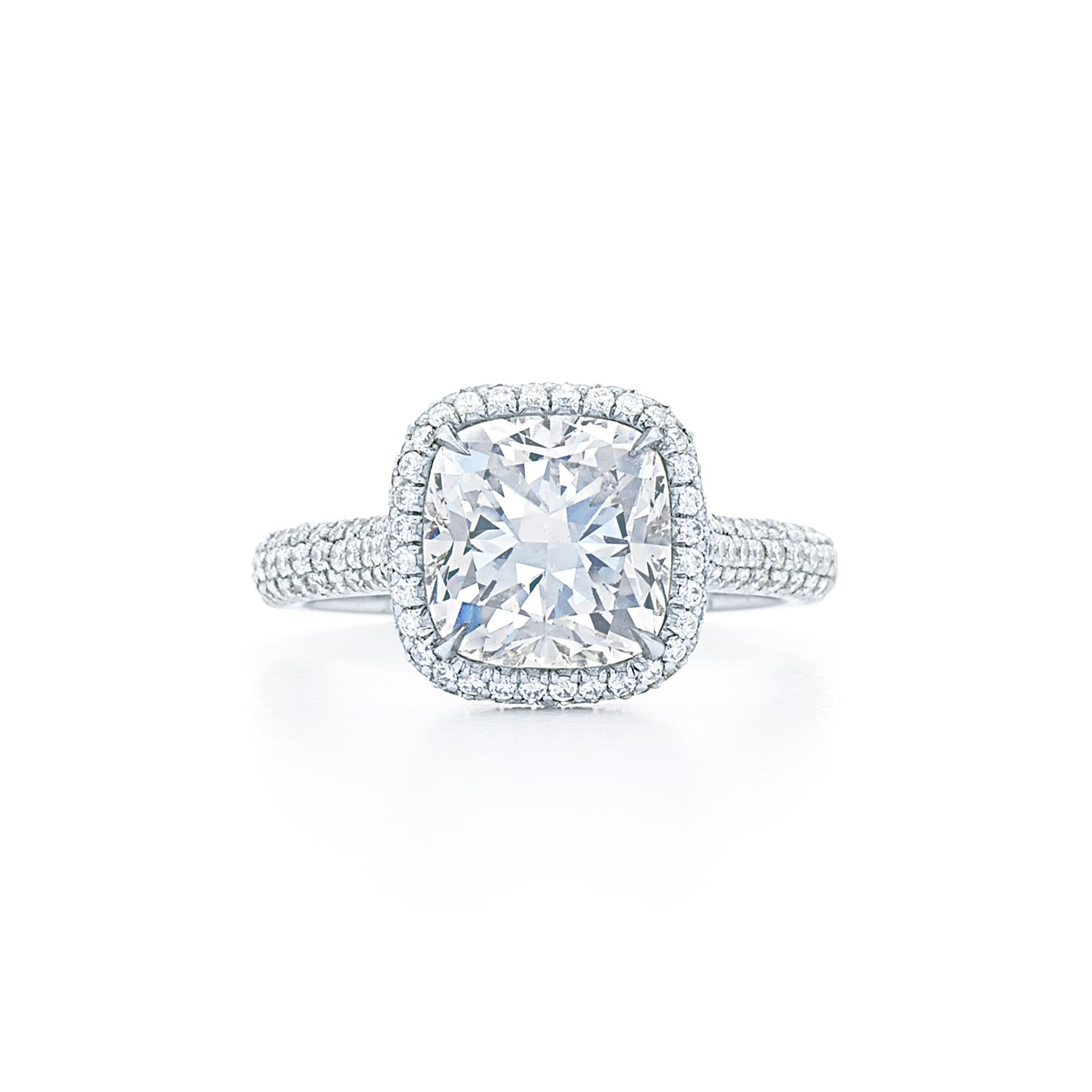 Pave Diamond Engagement Ring Cushion diamond engagement ring with