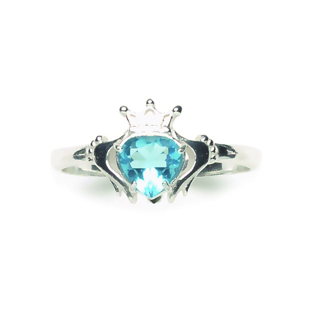 Tomas Jewelry Sterling Silver Light Blue Crystal Claddagh Ring Size 7