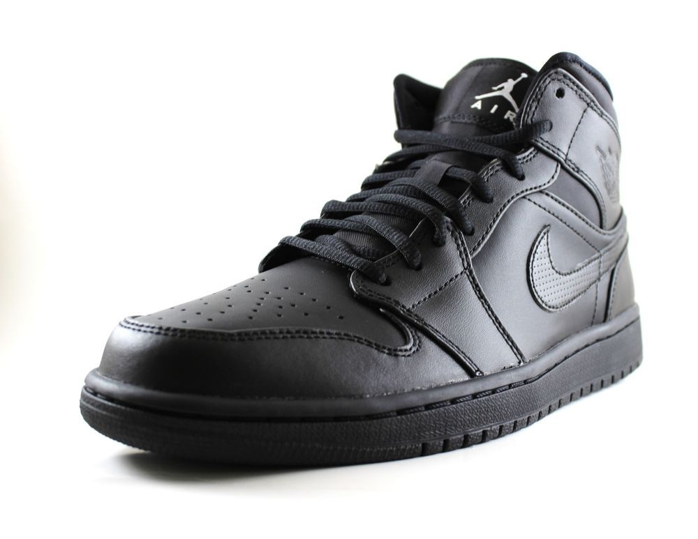 Nike Mens Air Jordan 1 Mid Black Athletic Basketball Shoes 554724-021 Size 7.5