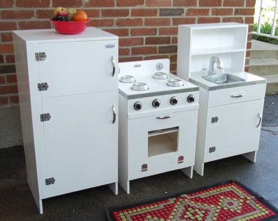 Wonderful Vintage Play Kitchen White Wood Three By Route66StLouis, $400.00