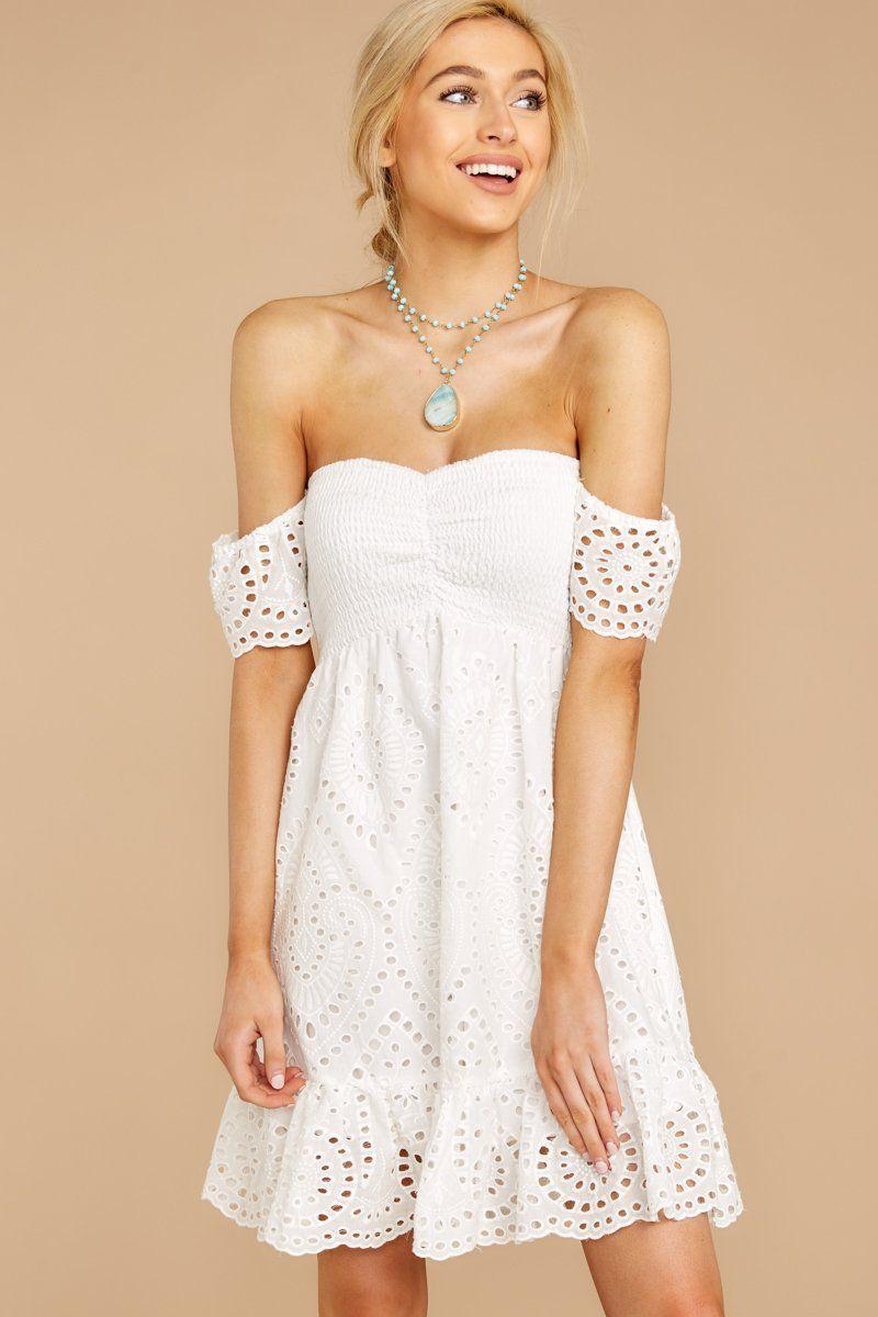 Cute White Eyelet Lace Dress Short Smocked Dress Dress 56 00 Red Dress Boutique Short Lace Dress Lace Dress Short Dresses [ 1200 x 800 Pixel ]