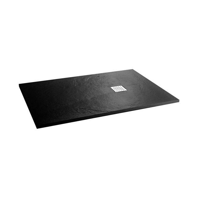 Receveur de douche poser extra plat noir 80 x 120 cm for Receveur douche 90x90 castorama