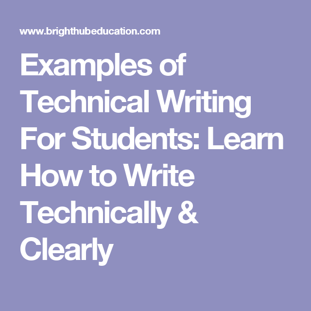 Examples Of Technical Writing For Students Learn How To Write