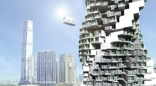 modular jenga tower green architecture building eco apartment