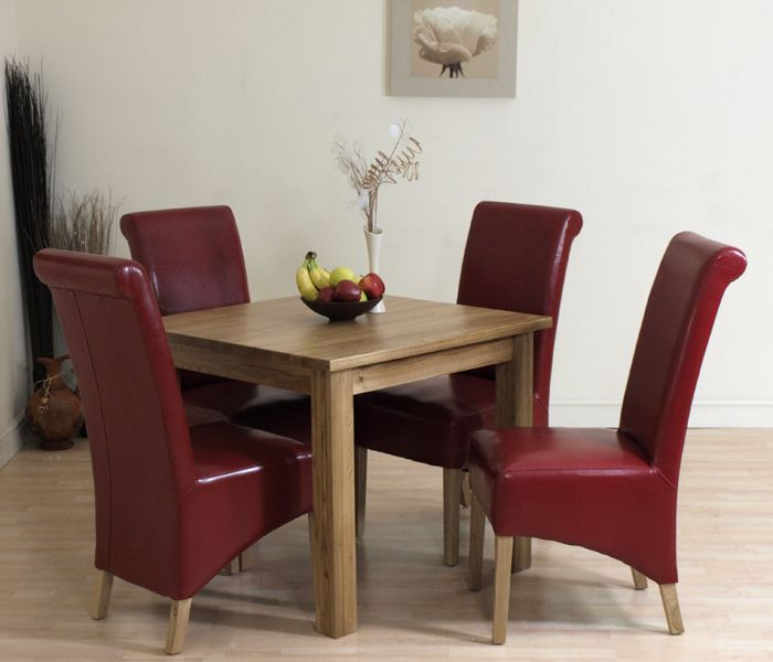 Captivating SOLID OAK SQUARE DINING TABLE 4 LEATHER CHAIRS (90cm X 90cm) 4 COLOURS TO  CHOOSE