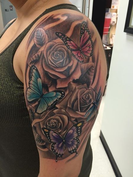 Half Sleeve With Color Pretty But I Want More Roses And Detail And I Want Half Sleeve Tattoos Drawings Sleeve Tattoos For Women Butterfly Tattoo On Shoulder