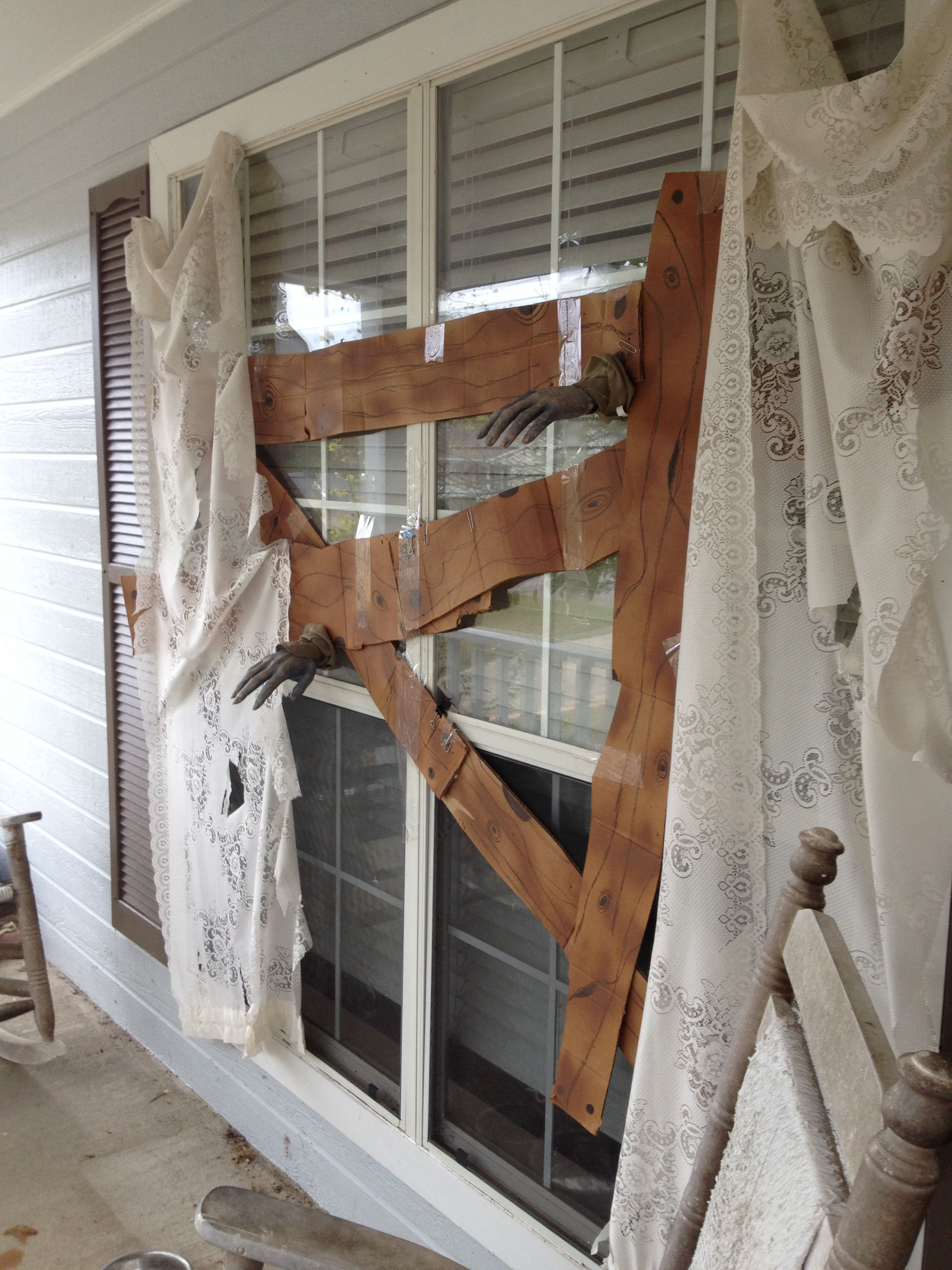 Creative Boarded-Up Window Outdoor Halloween Decoration (uploaded to - Pinterest Outdoor Halloween Decorations
