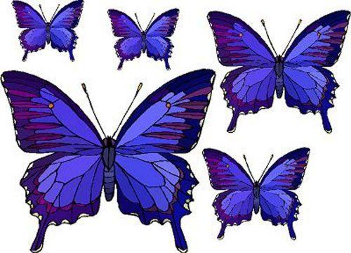 Set of 5 Blue & Purple Butterflies - Vinyl Stained Glass Film, Static Cling Window Decal by Window Art in Vinyl Etchings. $2.95. Many standard sizes are available. Custom sizes available upon request.. Advanced UV protection insures material will not discolor or damage glass.. Simple to remove, the vinyl decals can be easily reapplied without the loss of static cling.. Vinyl decal material and ink are safe for outdoor or indoor use.. Clear static-cling vinyl decal effortles...