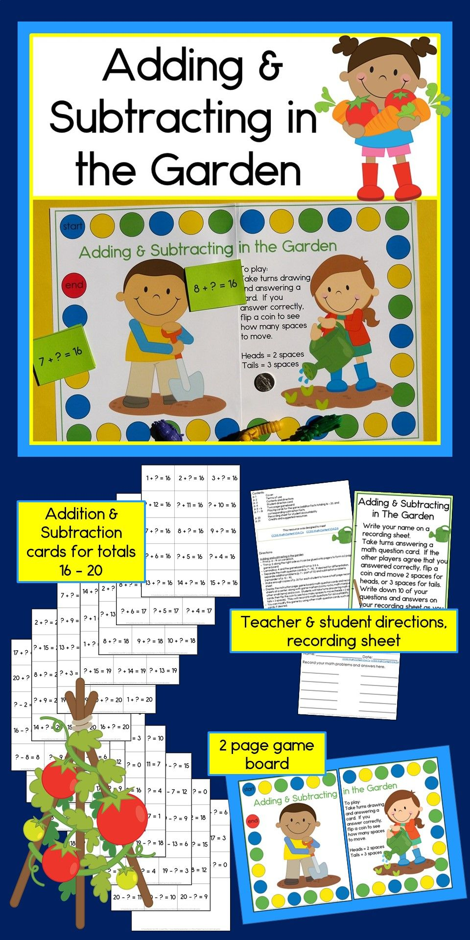 This Addition Subtraction Game Is An Awesome Spring Time Activity For My First Graders Th Addition And Subtraction Subtraction Games Adding And Subtracting Adding and subtracting games for