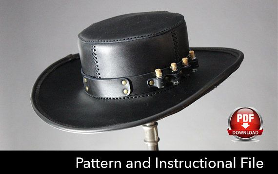 Leather Hat PATTERN DIY Pattern Steampunk hat DIY Pdf 741b4758343