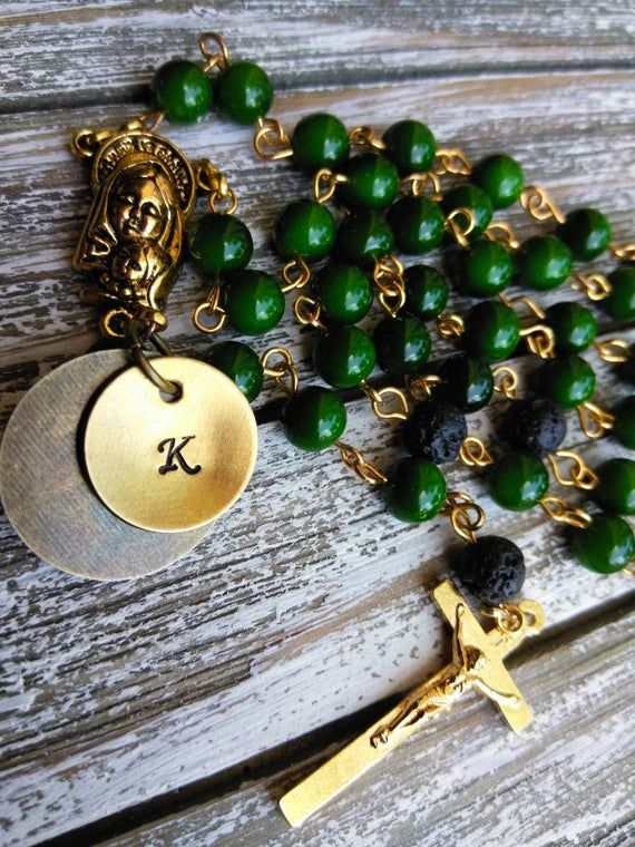 Emerald Green color Catholic Rosary. Five Decade Baptism Gift. Rosary. Gift for Godfather. Gift for Godmother. Baptism Gifts for Godparents.