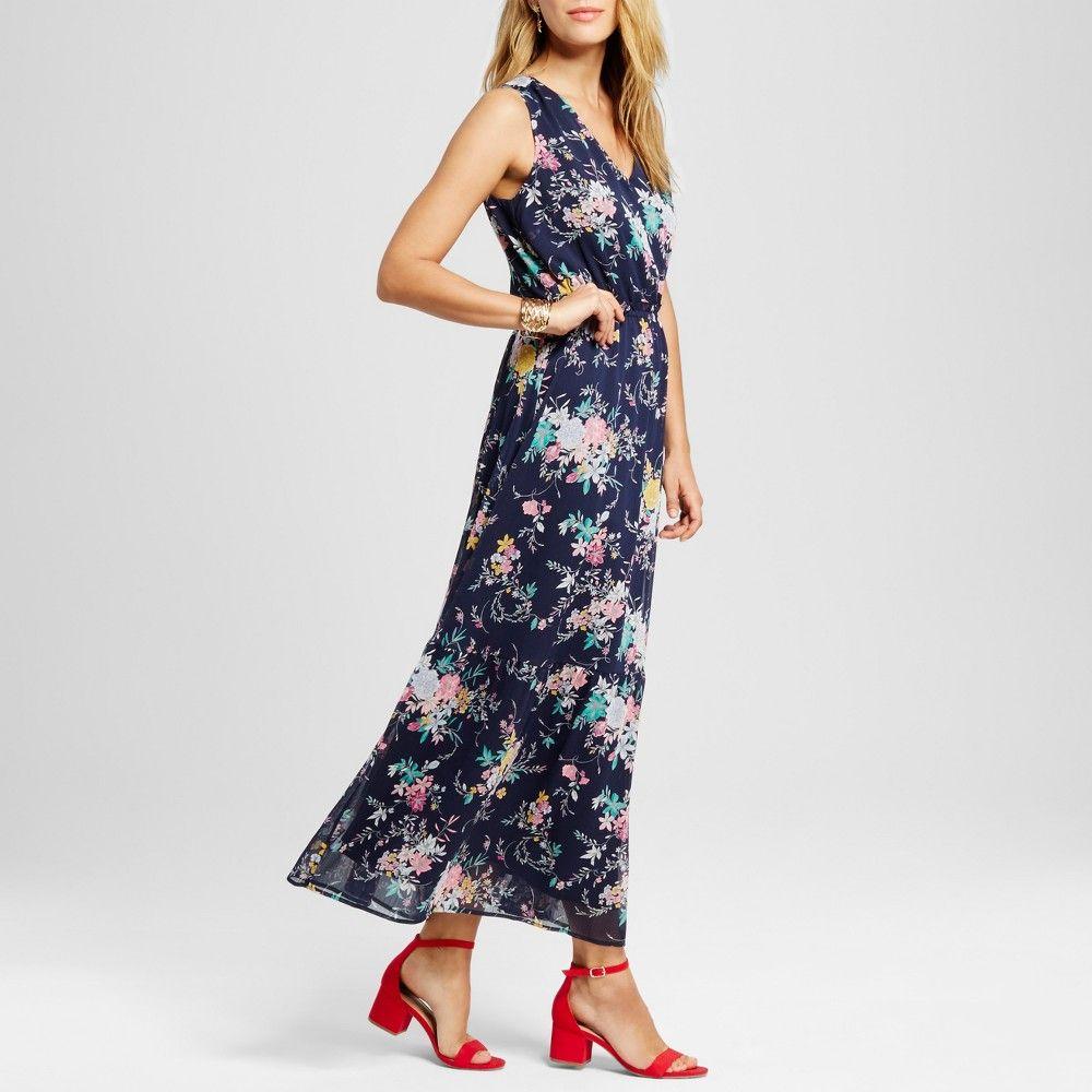 Womenus printed maxi dress merona navy blue floral s products