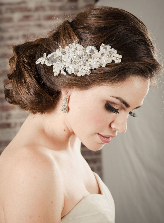 hair accessories bridal lace comb, pearl & rhinestone swarovski