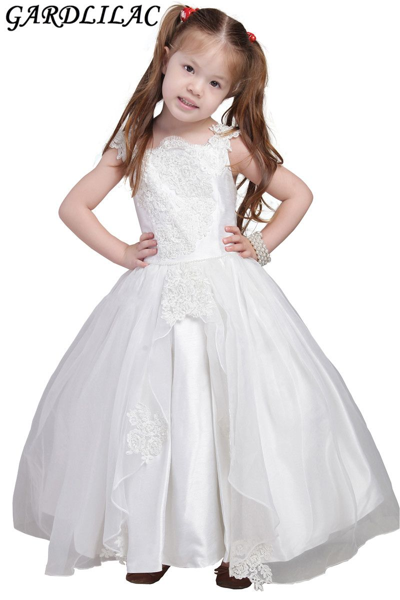 real picture bow lace applique ball gown flower girl dress