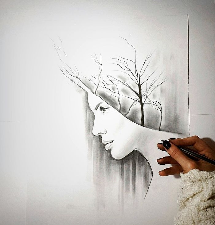 I Personify Mother Nature In My Pencil Drawings