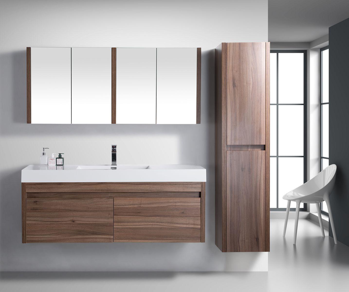 Labrador Golden Elite 60 Walnut Modern Wall Mount Bathroom