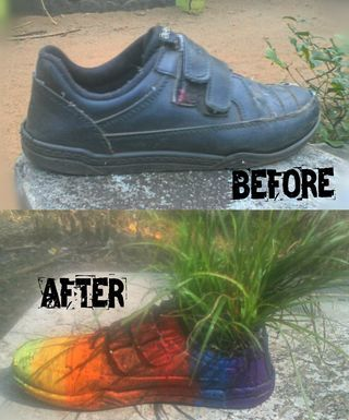 How to Change a Old Shoes Into a Flower Pot (Easy) - Everyone has a old shoes lying around somewhere….take it up sprinle some creativity and make it a flower pot.Let u be a person who recycled something and given a life..   Selecting  I opt my old school shoes which was in a terrible condition,I cleaned it up and repaired the... | http://wp.me/p5qhzU-blu | #DIY #DoItYourself