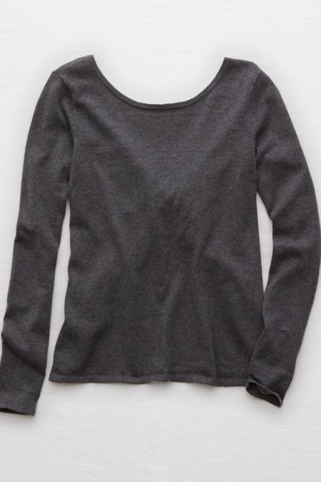 AE Acid Washed Twist Back Pullover Sweater  d23f10262