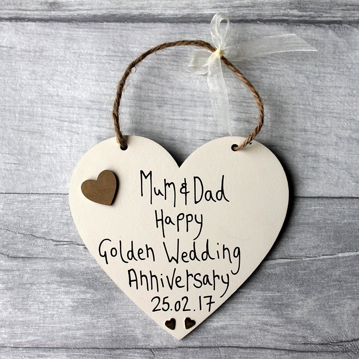 Madeat94 Golden Wedding Anniversary Personalised Heart