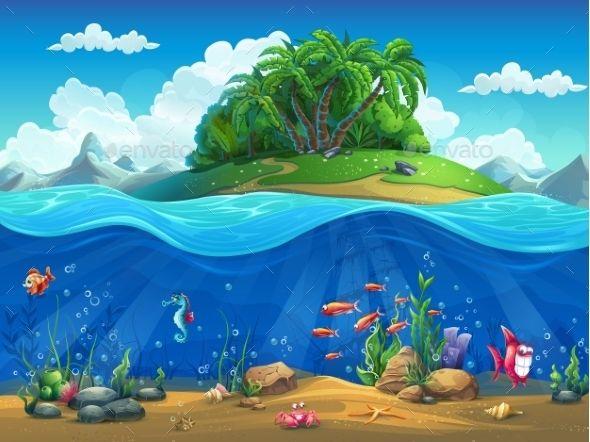 Cartoon Underwater Background Underwater Background Underwater Cartoon Underwater Painting