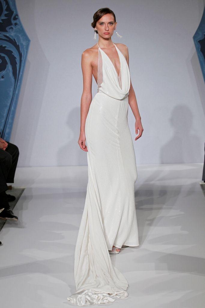 Bridal Gowns: Mark Zunino Sheath Wedding Dress with Halter ...