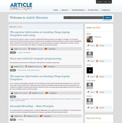 Article Directory Wordpress Theme  Article Directory Wordpress