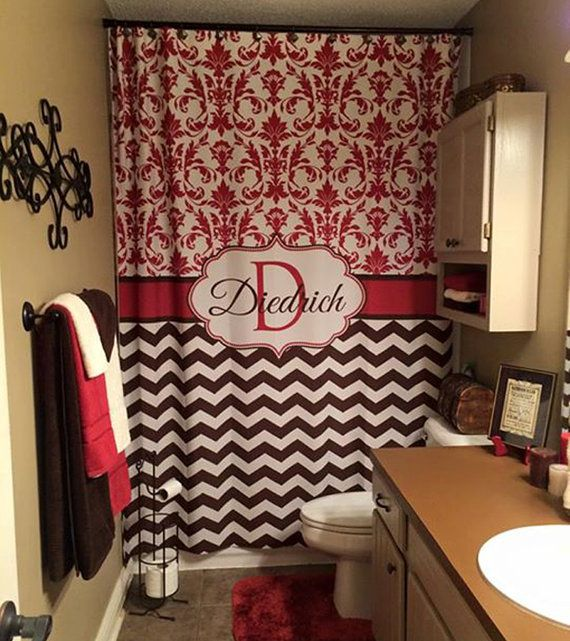 Shower Curtain Chevron Fabric Quatrefoil Lattice YOU CHOOSE COLORS 70 74 78 84 88 96 Inch Monogram Personalized Shown Brown FO Red