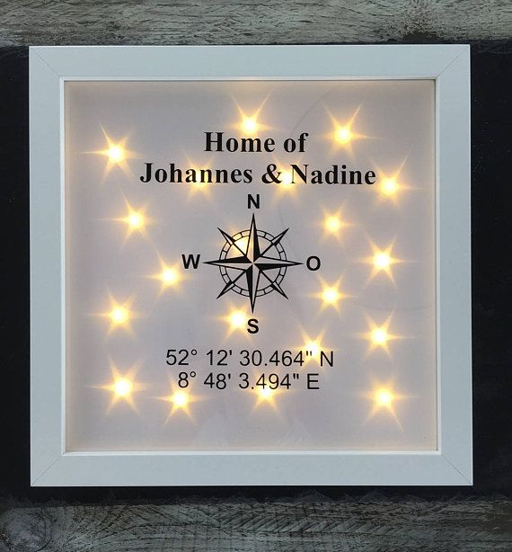 Gift for indentation, illuminated picture frame with compass, coordinates and name, LED frame, wall #greatnames