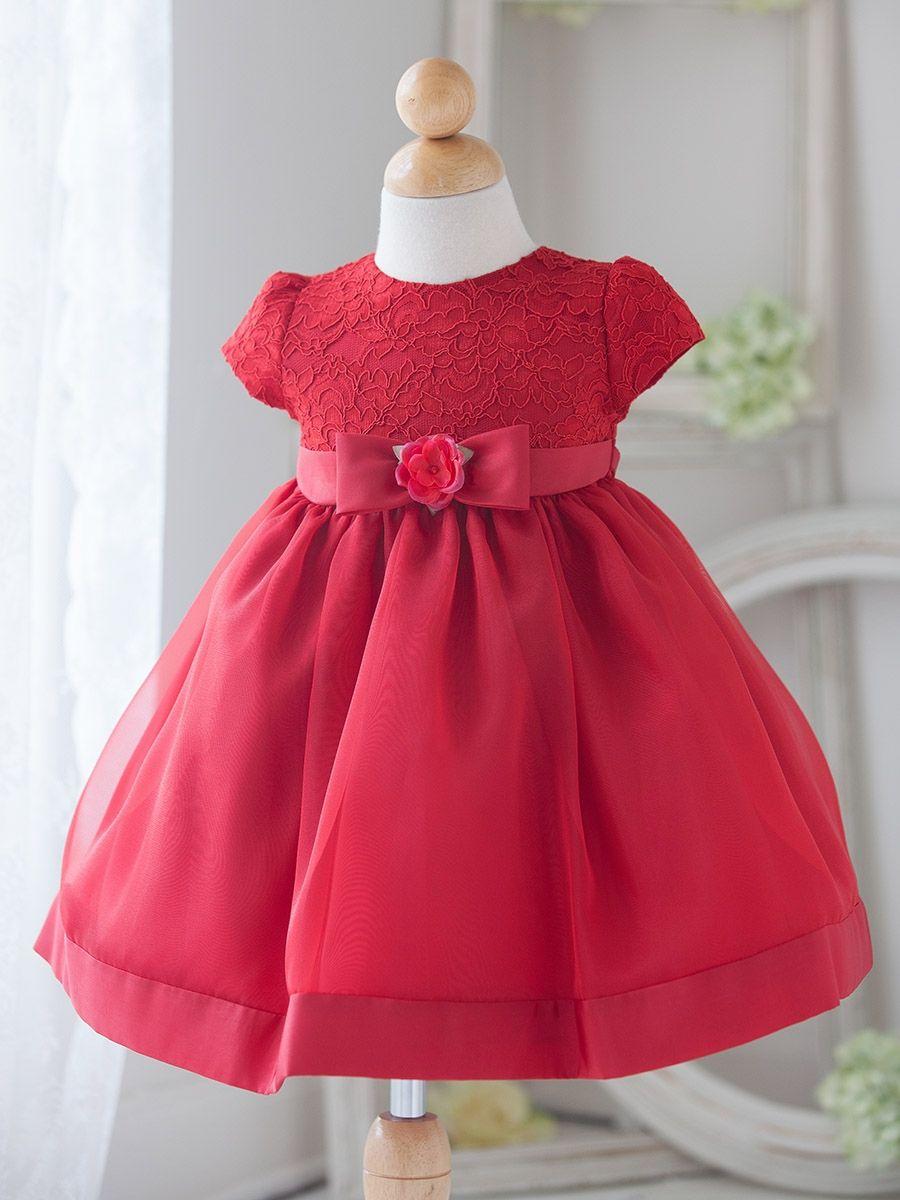 Lace dress for baby girl  Baby Girl Red Vintage Charm Lace Dress  Rochii Fetițe Fundițe