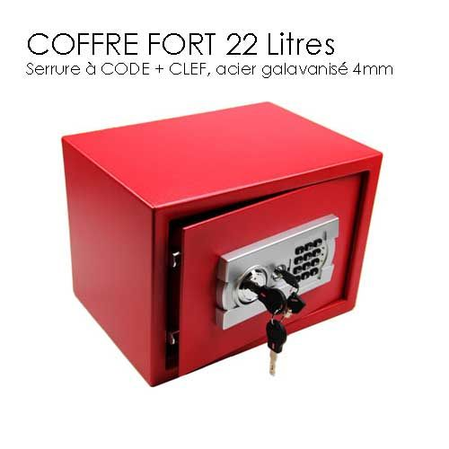 coffre fort 22l clef et code rouge prix 99 safe pinterest. Black Bedroom Furniture Sets. Home Design Ideas