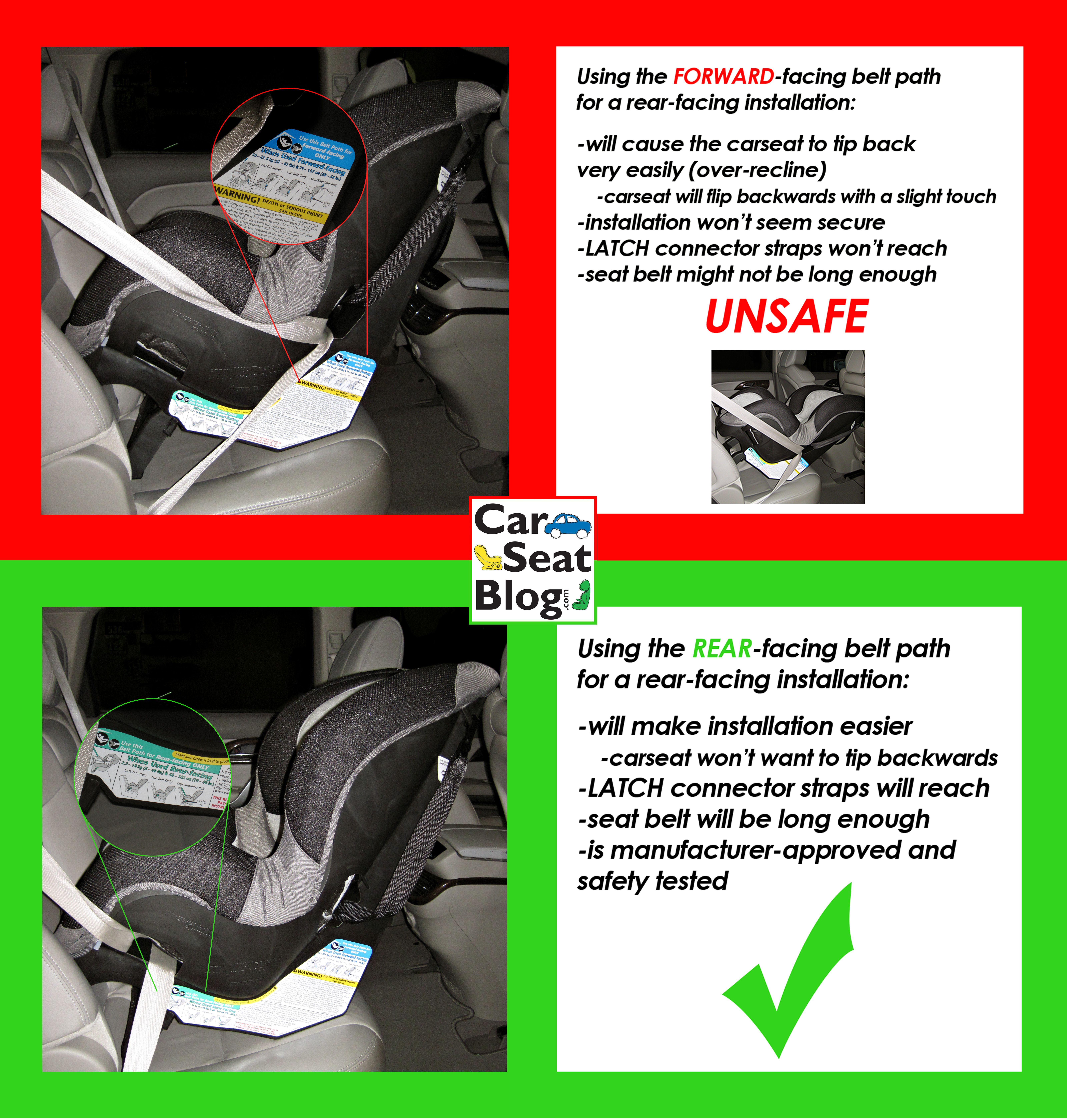 Using The Wrong Belt Path To Install Your Rear Facing Carseat Can Be Dangerous Car