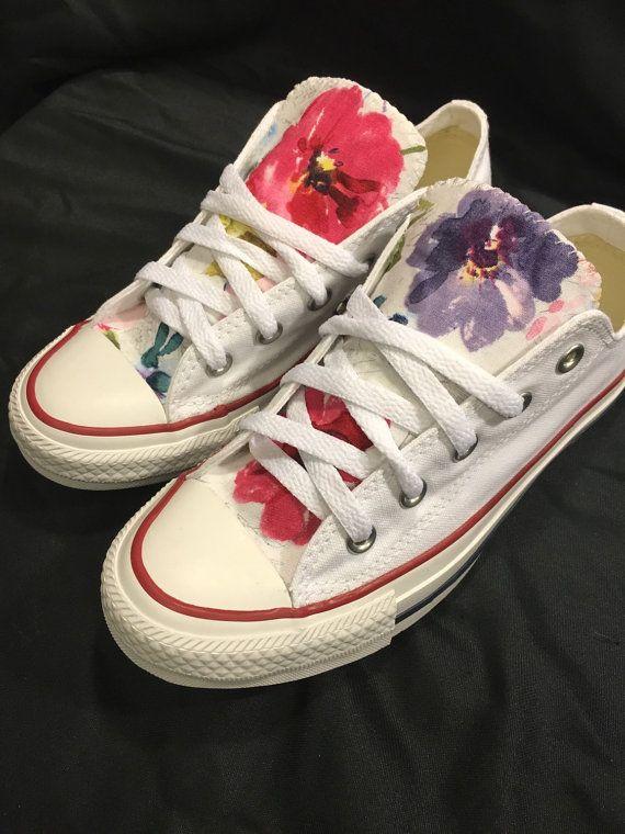 Floral Converse Shoes   Etsy   Scarpe, Pantofole
