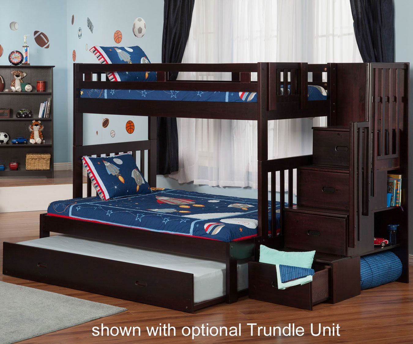 Twin over full loft bed with stairs   Twin Over Full Bunk Bed with Stairs and Trundle  Interior