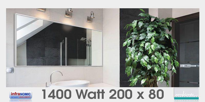 Infrarot Spiegelheizungen Bad 1400 Watt 200x80 Spiegelheizung Infrarotheizung Heizkorper