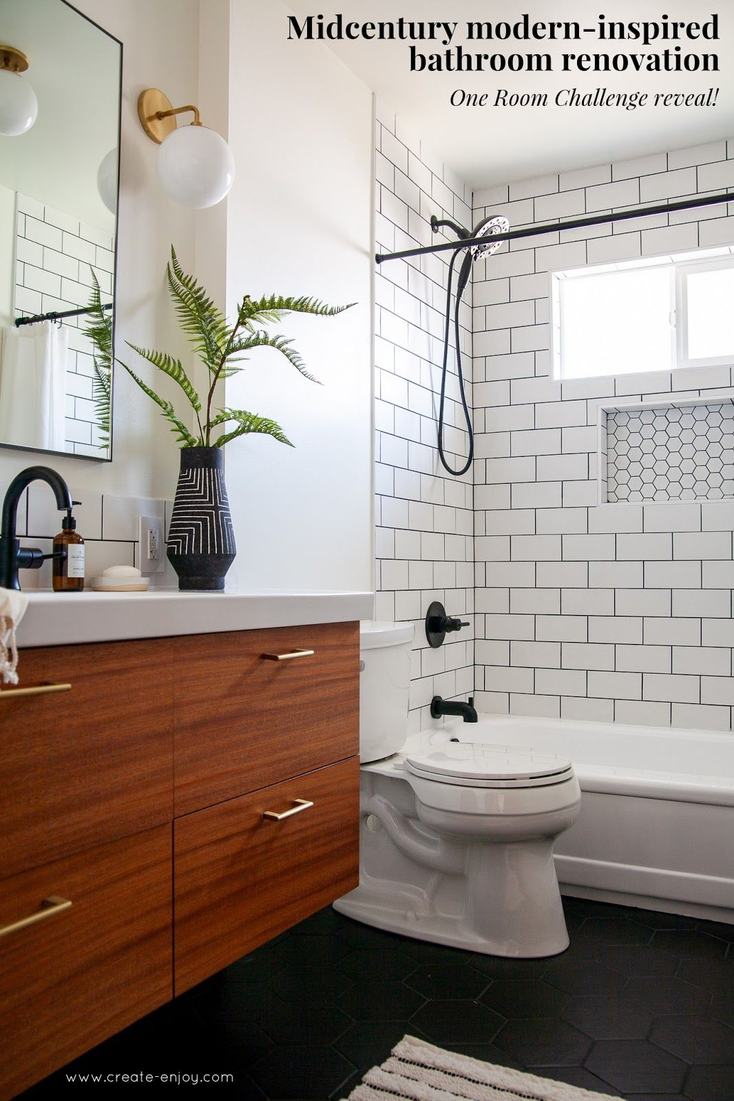 Modern Bathroom Renovation Reveal The Finished One Room Challenge