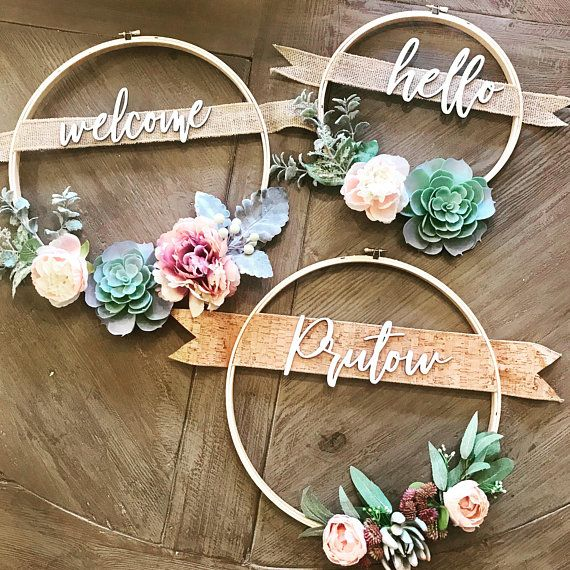 10in Custom Wreath Succulent Wreath With Family Name Or Custom Greeting Personalized Gift Hoop Wreath Farmhouse Decor Rustic Decor Decoracion De Unas Ideas Para Coronas De Flores Ramo De Suculentas
