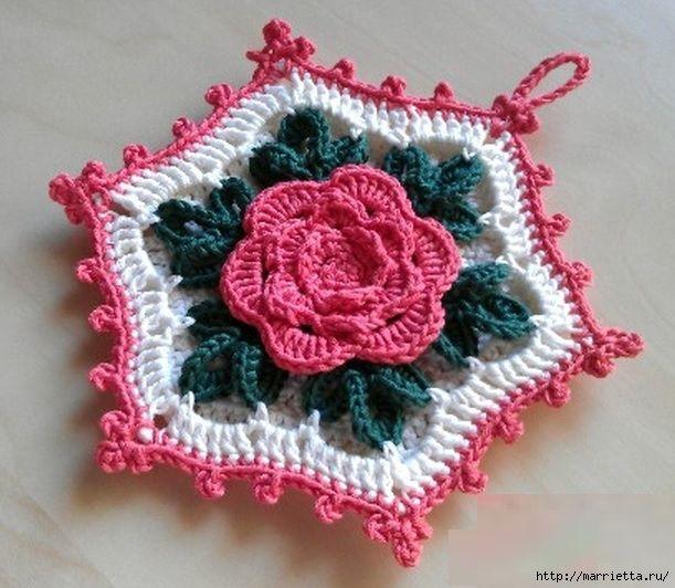 crochet roses and tack with a volume rose pleten a h kovan moda pinterest vintage. Black Bedroom Furniture Sets. Home Design Ideas