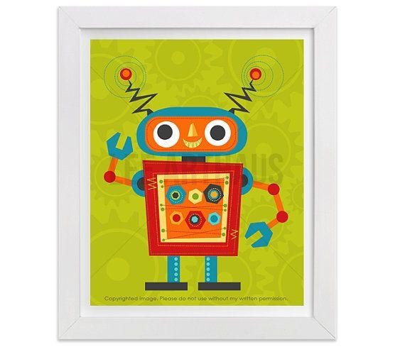 Robot Wall Art Robot 4 Wall Art Baby Boy Nursery by leearthaus ...