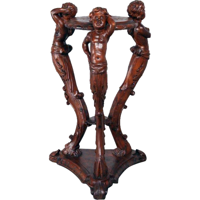 RARE Antique French Pedestal with Carved Centaur, Cherubs in Walnut circa 1900 on RubyLane.com