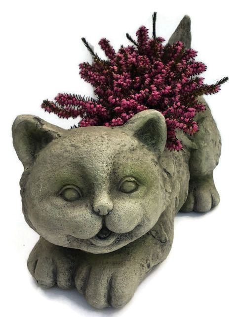 Cat stone effect plant holder and garden ornament statue plant cat stone effect plant holder and garden ornament statue plant pot workwithnaturefo