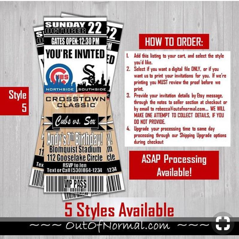 Chicago Cubs 4x6 Baseball Invitation Photo Trading Card Baseball Birthday Invitations Baseball Birthday Sock Birthday Party