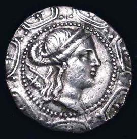 Macedon Roman Coin Monogram Bust Of Artemis Daughter Of Zeus