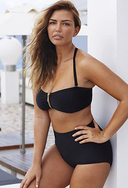 3c6cd903a99a5 Plus Size One Piece - Swim Sexy Black Zip Front Twist Back Bikini ...