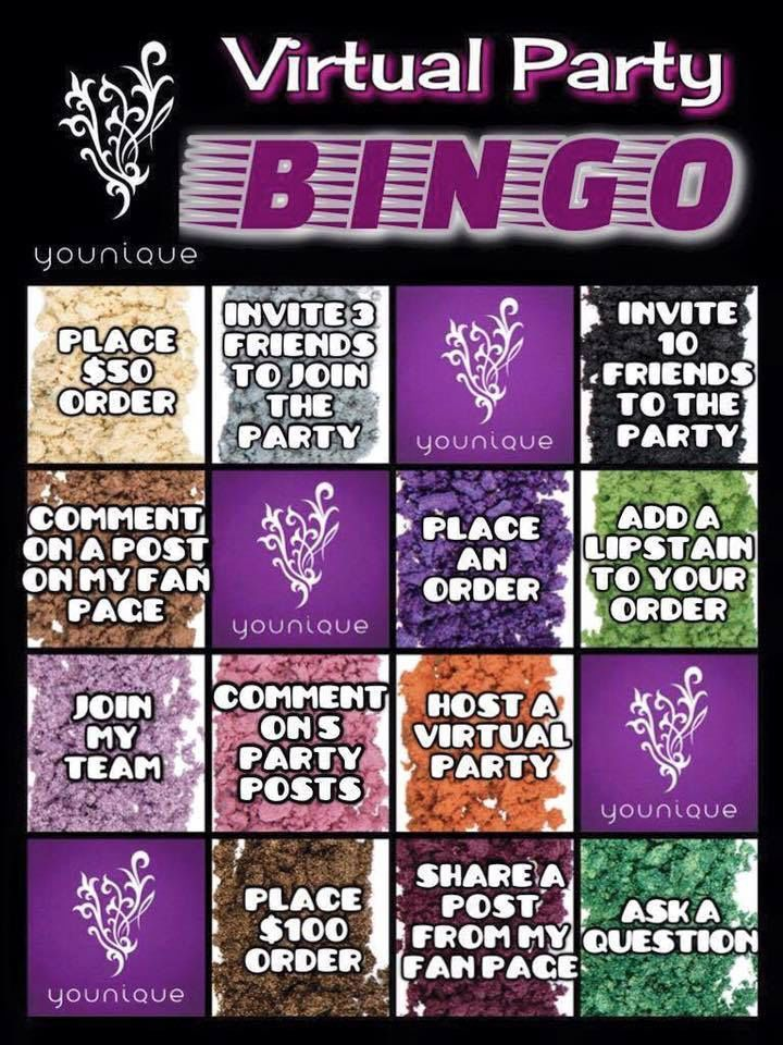 Younique Bingo Game | Younique Party Ideas | Pinterest | Bingo Games Makeup And Younique Party ...