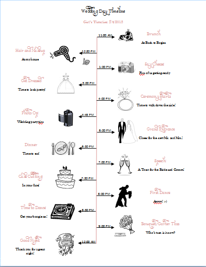 Ellie obrien nikki fussell and any other bride this is a cute this is a cute wedding day timeline to pass out to the maids junglespirit Image collections