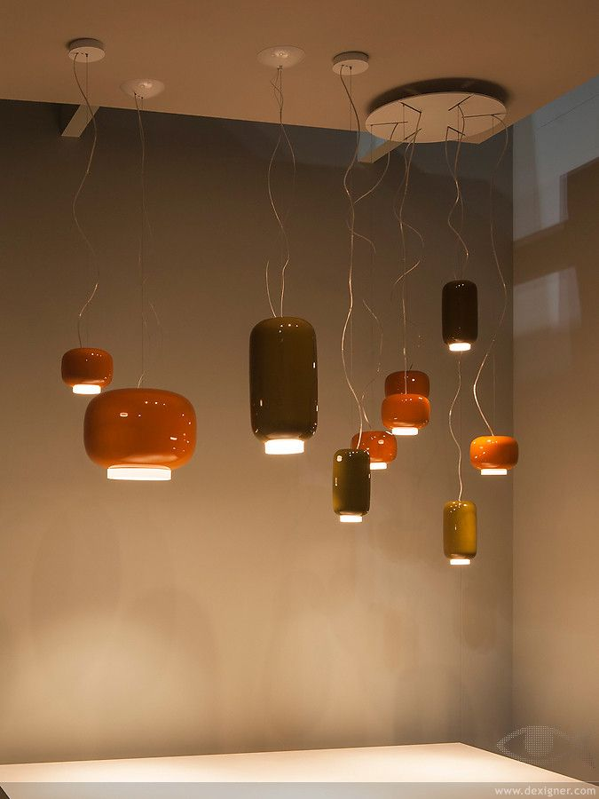 The fantastic Chouchin pendant from Foscarini. Opaque Italian blown glass in grey, green and orange. Minimal Italian designer lighting at its best. Browse our site for more superb Italian designer lights
