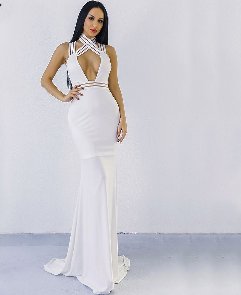 Bess high neck open front off shoulder maxi dress in white maxi