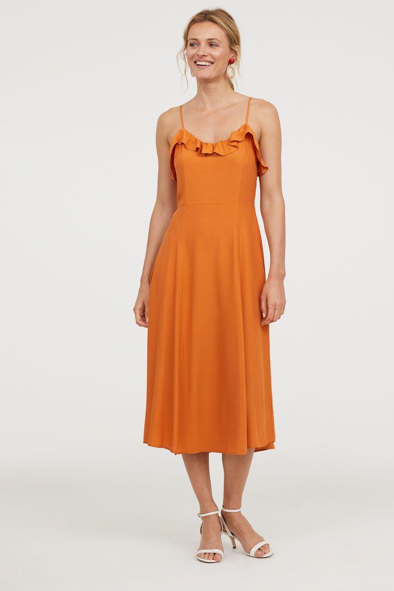 Orange Dress with Ruffles