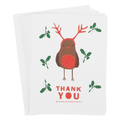 Christmas Robin Thank you Cards, Paperchase Stationery Pinterest
