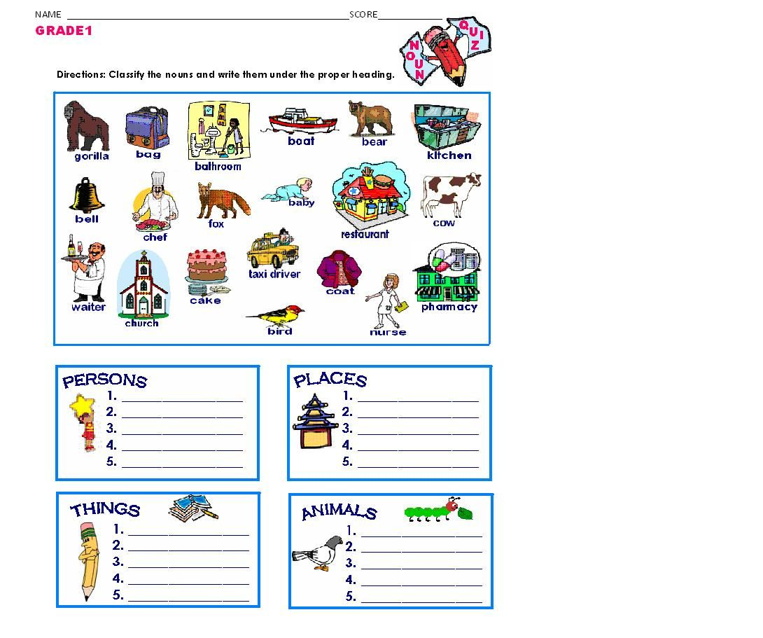 Grammar Worksheets Noun Quiz Classification